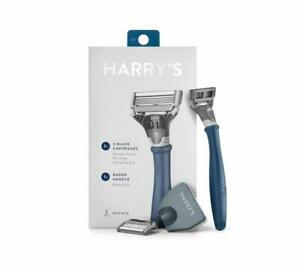 New-Harry-039-s-Razor-With-2-Blade-Cartridges-Navy-Blue-Men-039-s-Closest-Shave
