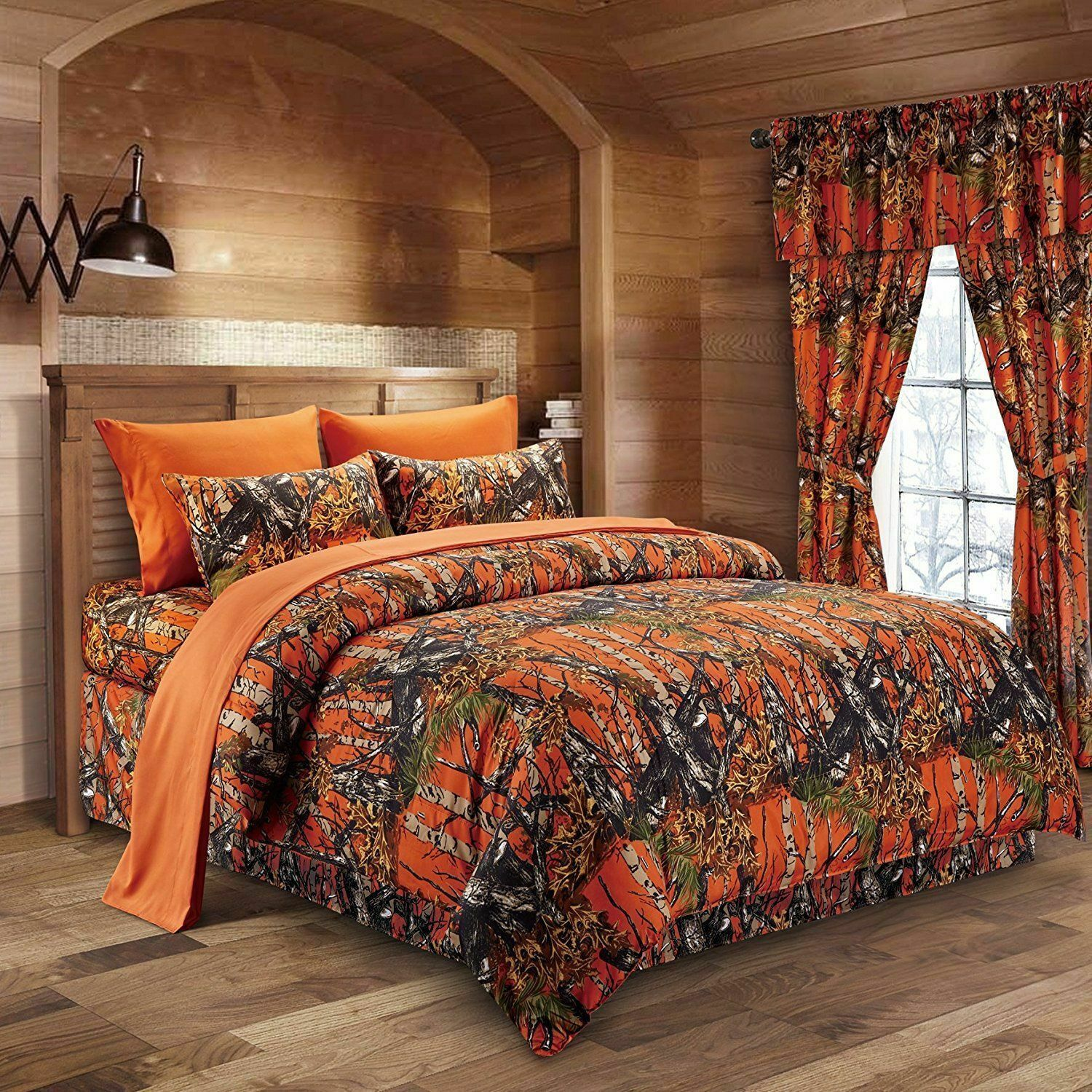The Woods Camo orange 12 Piece King Size Comforter and Sheet Set with Curtains