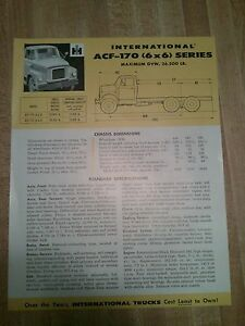 1950's International ACF-170 (6X6) Series Specification sheet