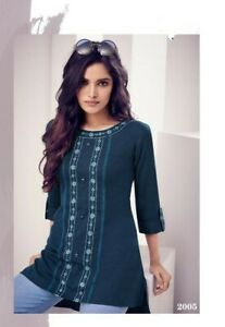 Women-Fashion-Indian-Short-Kurti-Tunic-Kurta-Top-Shirt-Dress-Rayon-Navy-Blue