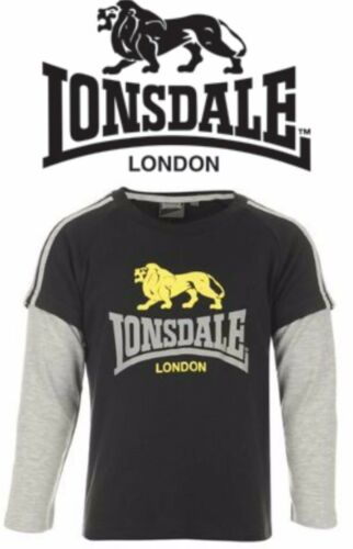 BNWT LONSDALE Boys Lion Logo Top//T-Shirt//Sweatshirt 3-4yr BOXING//MMA Black//Grey