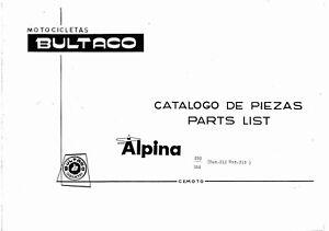 Bultaco-Parts-Manual-Book-ALPINA-250-NACIONAL-Mod-212N-Printed-1977