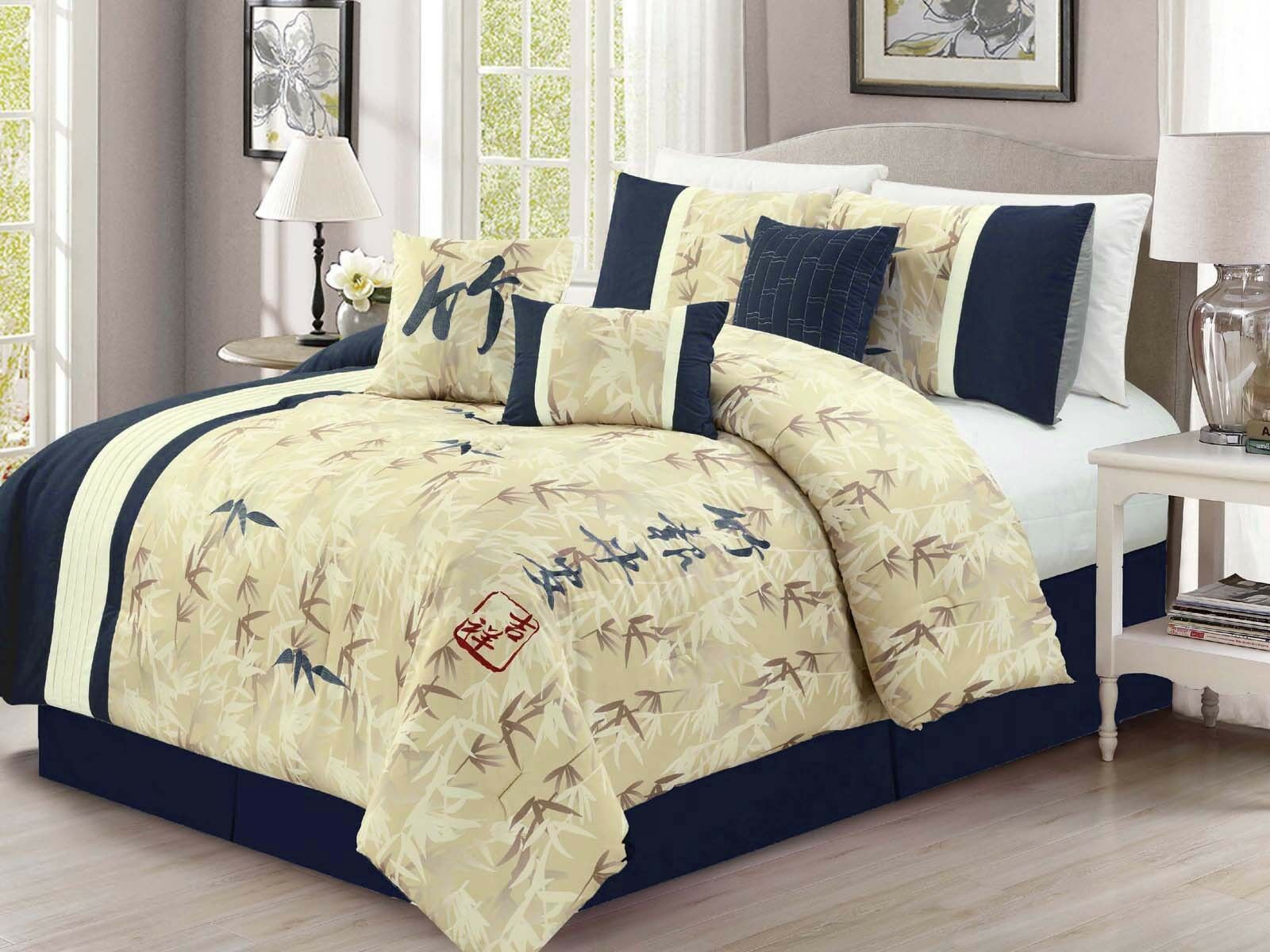 7-P Bamboo Forest Auspicious Kanji Character Comforter Set Blau Beige Ivory King