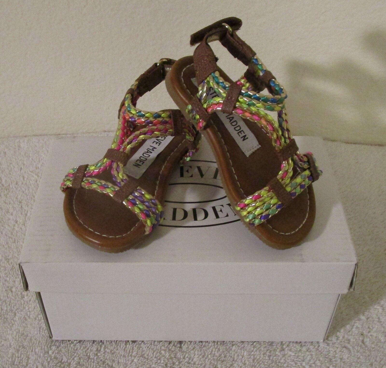 2626ebcc301 Steve Madden Whisley Toddler Grils Slide Sandals 6 Cognac Multi