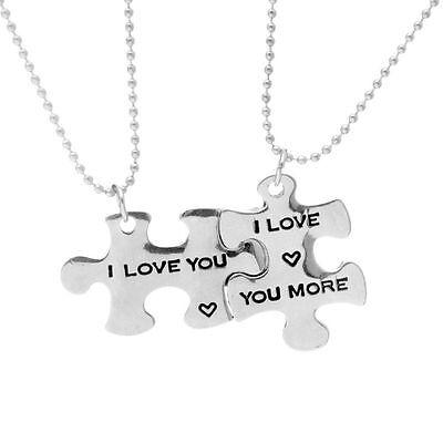 """2pcs """"I Love You More"""" Couples Puzzle Necklace Set Heart Friendship Best Friends"""