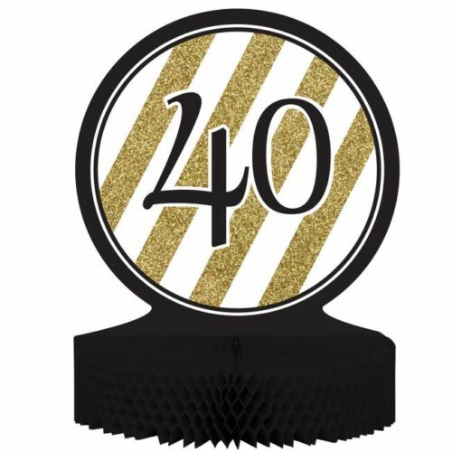 Black and Gold 40th Birthday Honeycomb Centerpiece 40 Birthday Party Decoration