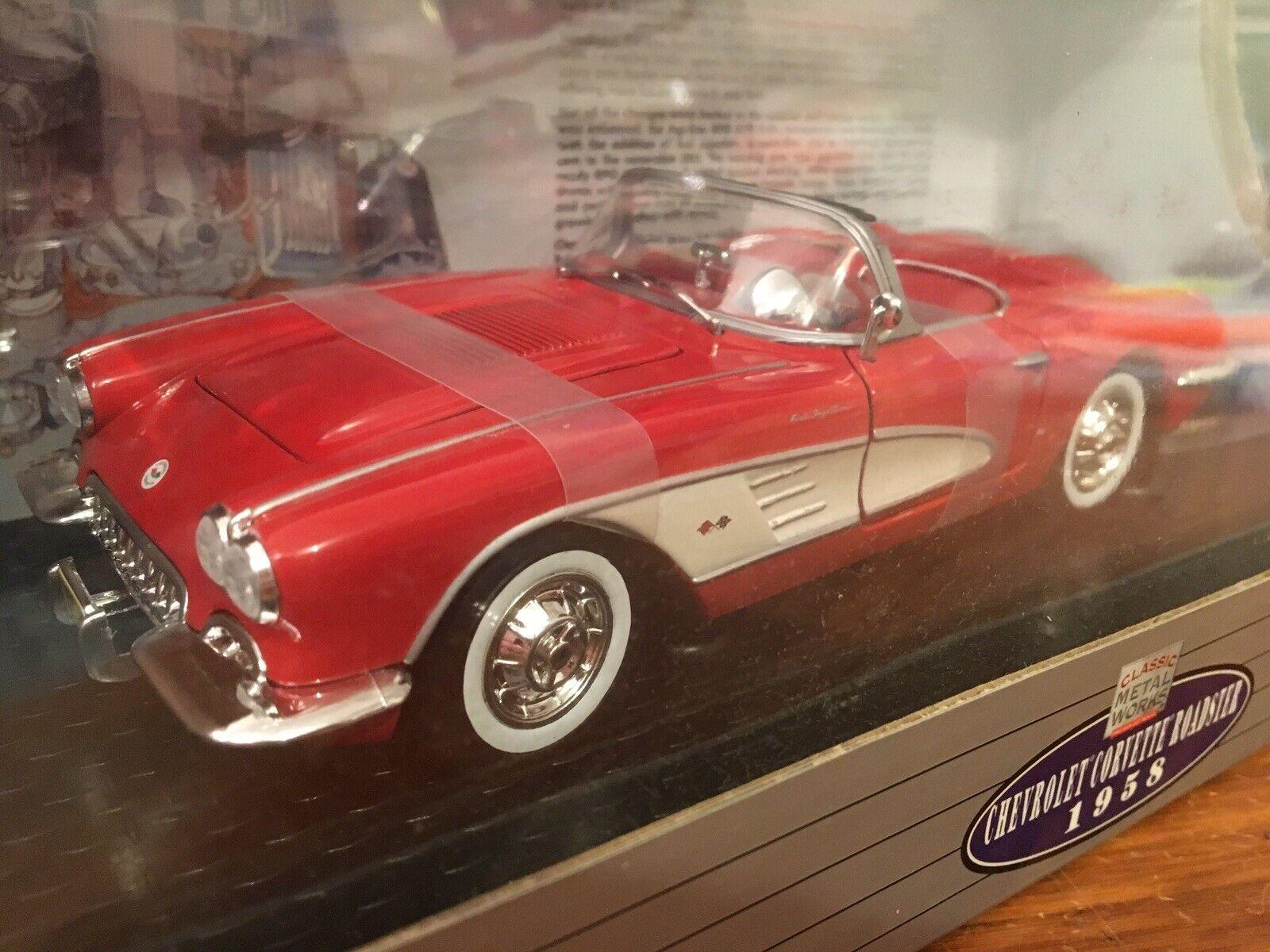 Classic Metal Works 1 24 1958 Chevrolet Corvette Fuelie Rojo, Artículo 58819