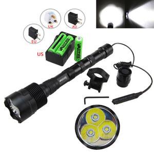Tactical-50000Lm-3x-T6-LED-Torch-Flashlight-Hunting-Torch-Rifle-Gun-Mount-Light