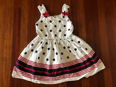 NWT GIRLS GYMBOREE WHITE DRESS Red White Blue Stripe SIZE S 5 6