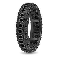 Enhanced Black Diamonds Men's Wedding Eternity Ring 2.90 Ct 6mm 14k Black Gold