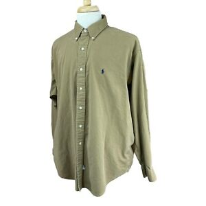 Ralph-Lauren-Polo-Men-039-s-Button-Down-Long-Sleeve-100-Cotton-Brown-Shirt-XL