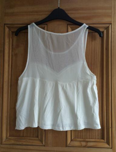 Topshop neuf blanc cassé crème plissé Mesh Jersey Débardeur pour femme Taille 8 10 12