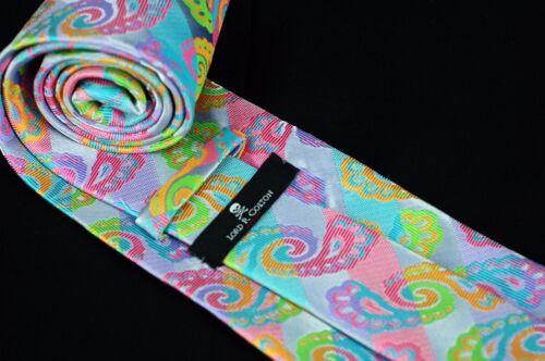 Miami Silver Lime Pink Silk Necktie New Lord R Colton Masterworks Tie