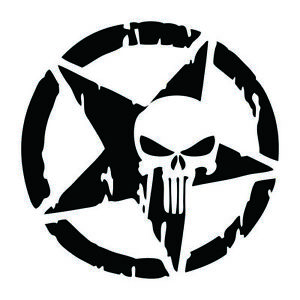 Punisher-Star-Skull-Pentagram-Car-Sticker-Vinyl-Decal-Truck-Window-13x13cm-Black