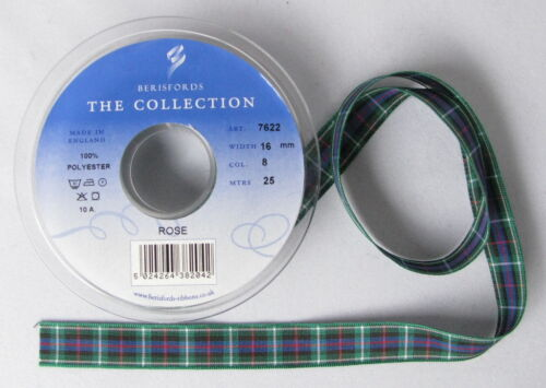 various widths Rose Tartan Ribbon cut lengths and 25m reels