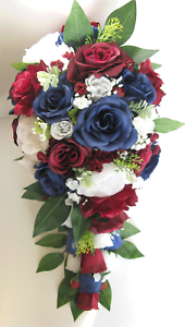 Wedding Bouquets 17 Piece Package Bridal Bouquet Flowers Burgundy Navy Blue Set Ebay
