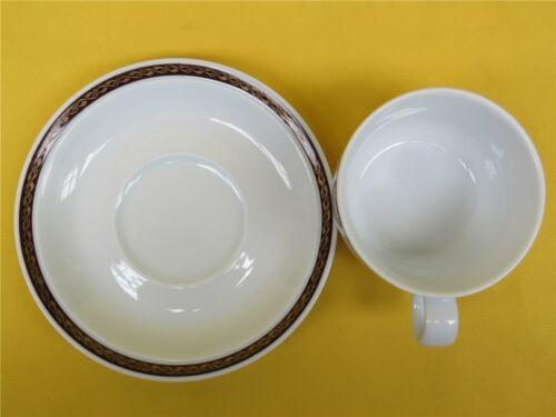 6 x Bavaria 1881 Germany Kaffeetasse m. Unterteller Rand gold/braun Kaffeegedeck