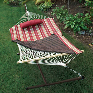 Image Is Loading PORTABLE Outdoor Patio HAMMOCK STAND Spreader QUILT Amp