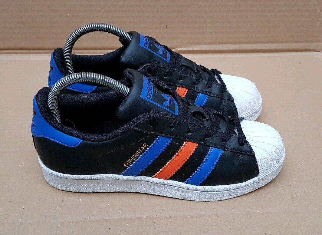 ADIDAS Superstar Scarpe da ginnastica nero blu & Arancio in Taglia 4 UK RARO OTTIMO | Diversified Nella Confezione  | Uomini/Donne Scarpa