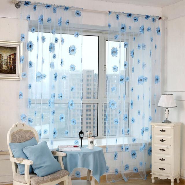 Sunflower Sheer Tulle Window Curtain Valance Door Room Drape Decoration New HK