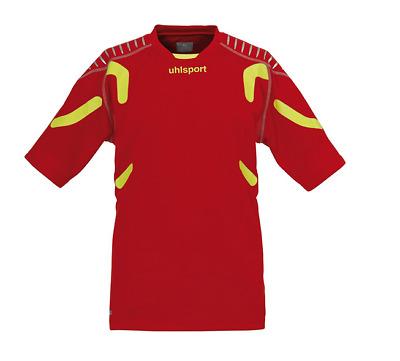 Uhlsport TorwartTECH GK SHORT SLEEVE Soccer Goalie Top Jersey Red Neon Yellow XL