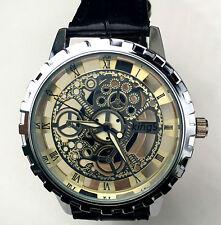 Newest Silver Skeleton Waterproof Steel Men Women Genuine leather Wrist Watch