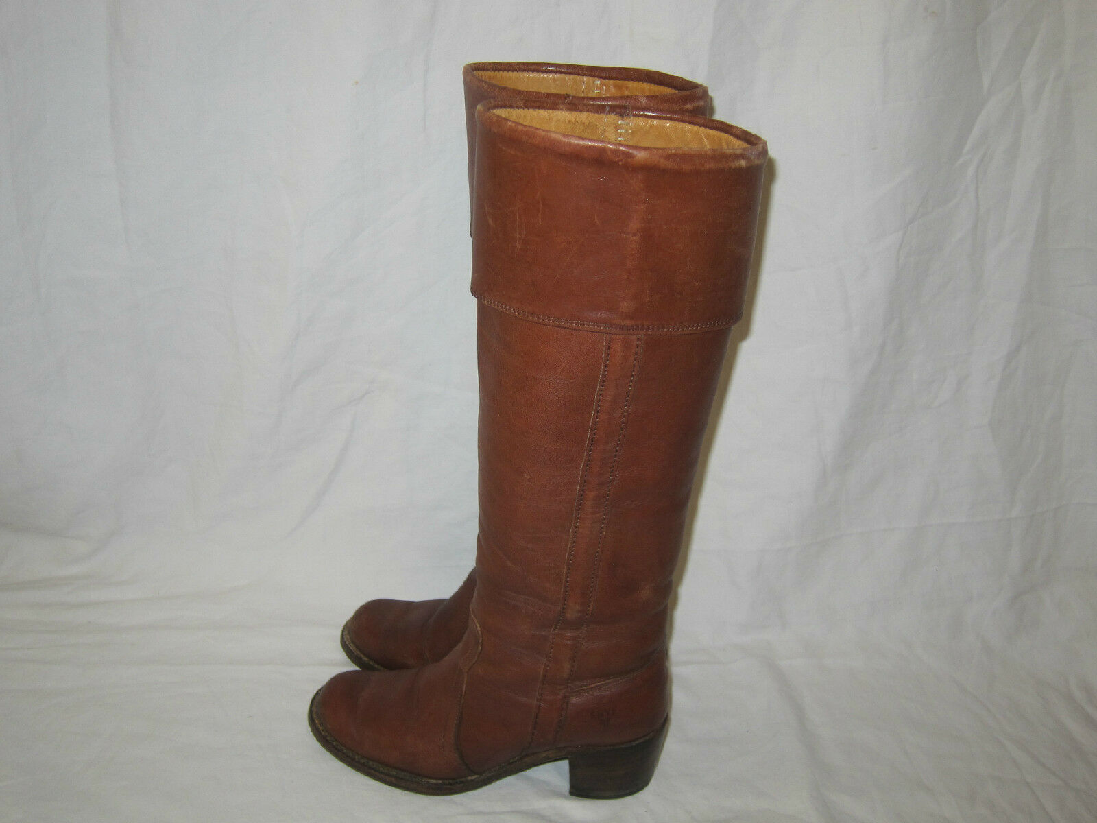 Vtg FRYE USA Leather Boots Campus Tall Riding Western Brown Womens 5.5 B Nice!