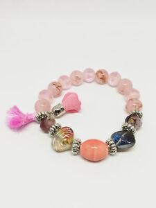 Bracelet-Bijoux-femme-Fantaisie-Rose-Pompon-Fleur-Coquillage-Perle-NEUF-ref-10