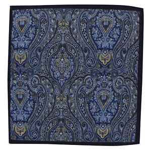 Pink Michelsons of London Mens Bright Paisley Silk Pocket Square