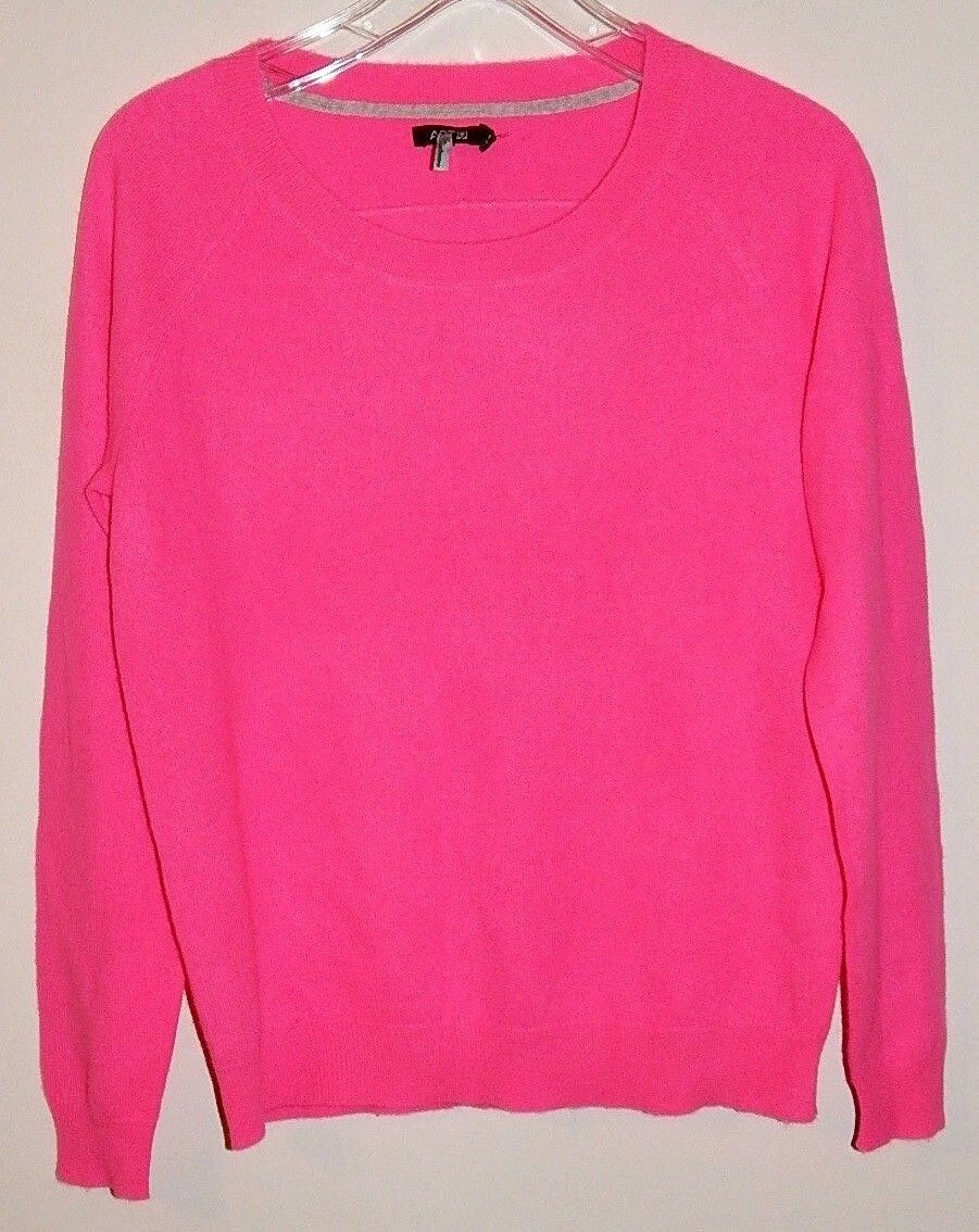 APT.9 100% CASHMERE WOMEN'S BRIGHT PINK SWEATER sz M NEW AUTHENTIC