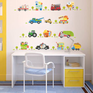 Details about Cartoon Kids Boys Various Cars Wall Sticker Nursery Baby  Bedroom Decorations DIY