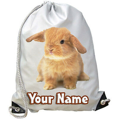 Bunny Coniglio Personalizzato Palestra / Nuoto / Pe / Danza Borsa-bambini Con Nome Regalo- Ultima Tecnologia
