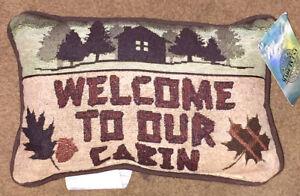 Bienvenido-a-nuestro-Cabin-Lodge-silueta-Tapiz-Palabra-Almohada