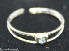 Thai Silver Toe Finger Ring Aqua Gem Stone Heart Shape Size Adjustable UK Post