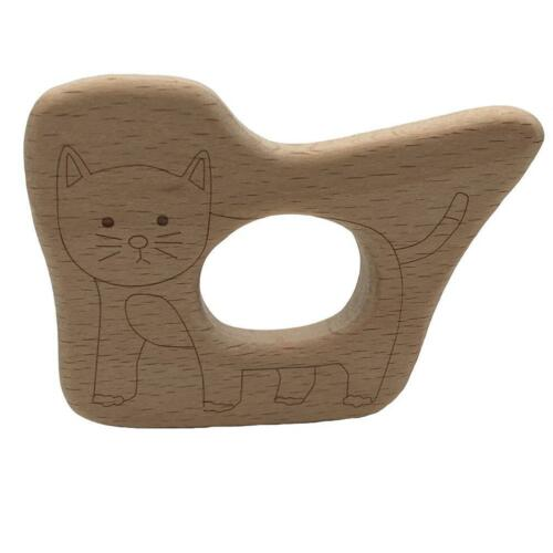 Natural Wood Baby Rattle Teether Toys Wooden Animal Teether Teething Ring T