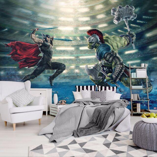 Photo Wallpaper Wall Mural Woven Self-Adhesive Art Avengers Marvel Hulk Thor M04