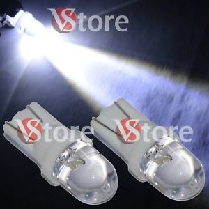 2-Veilleuses-LED-T10-ampoules-5W-BLANC-Lampe-Xenon-Feu-de-position-plaque