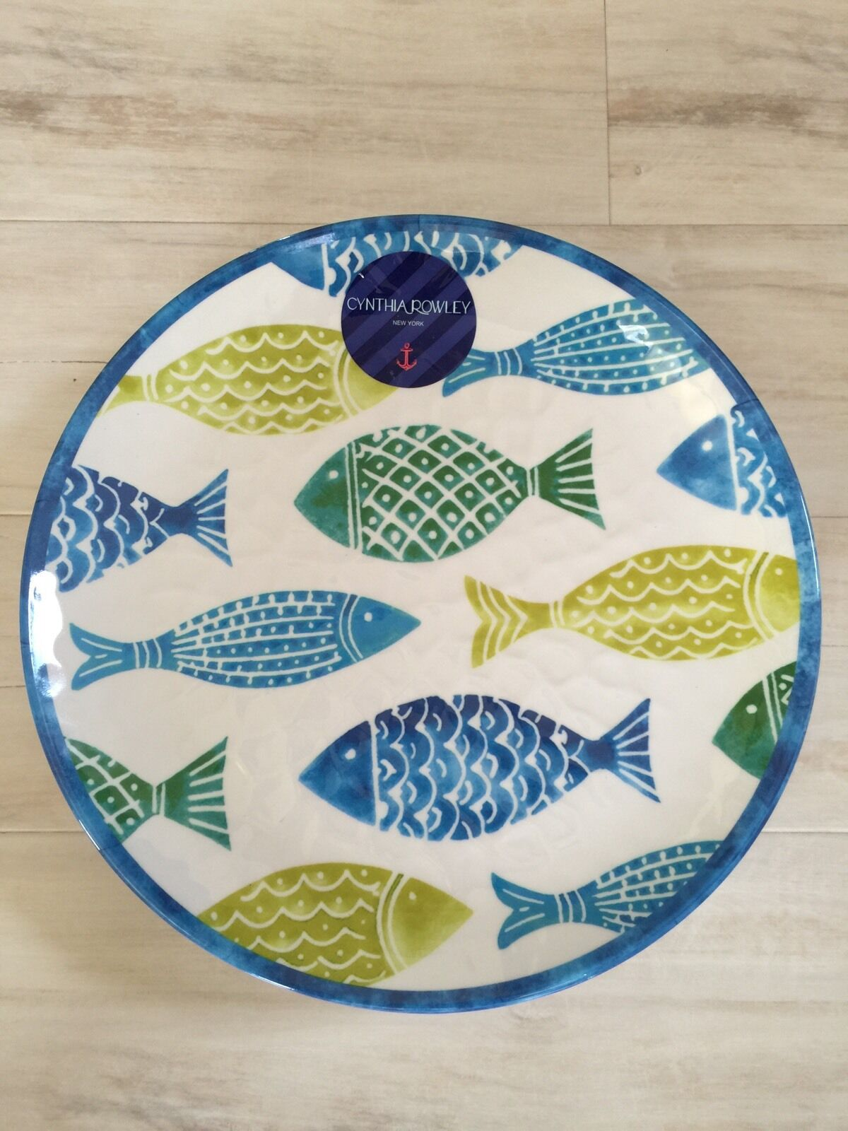 Set Of 6 Cynthia Rowley Melamine Dinner Plates Fish Ocean Teal bluee Olive