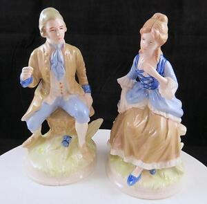 """HAND PAINTED GERMANY PORCELAIN 2 PC VICTORIAN MAN AND WOMAN 6 3/4"""" FIGURINES"""