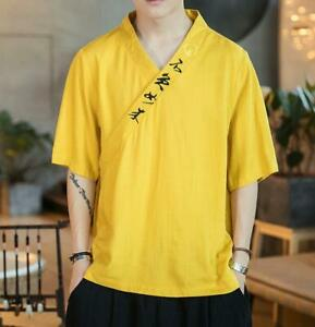 Mens-Casual-Linen-Cotton-Short-Sleeve-Chinese-V-Neck-Embroidery-Shirt-Tops-New
