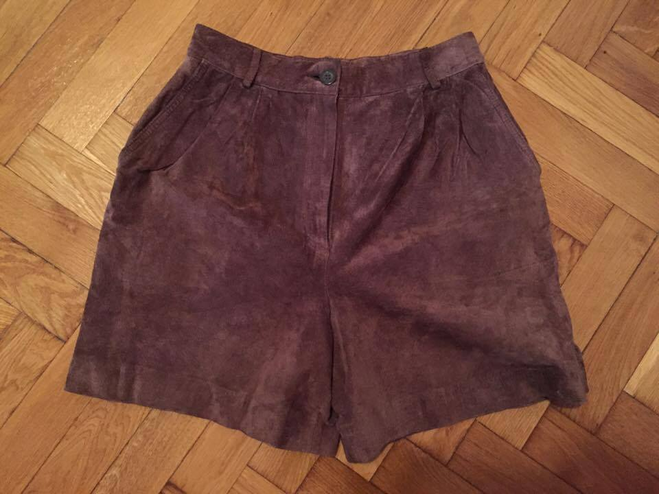 Real suede Leather Brown short pants Jones Women Sz 38 Lederhosen