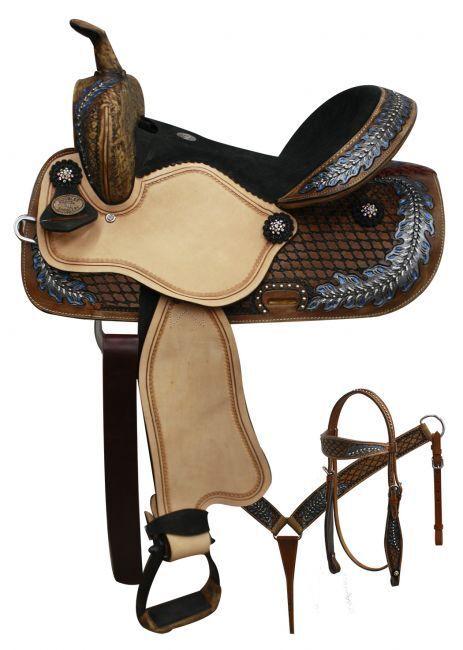 14  Western Pleasure Trail Double T SHOW Barrel leather saddle Bridle Tack set