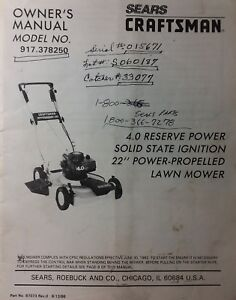 craftsman lawn mower owners manual 917