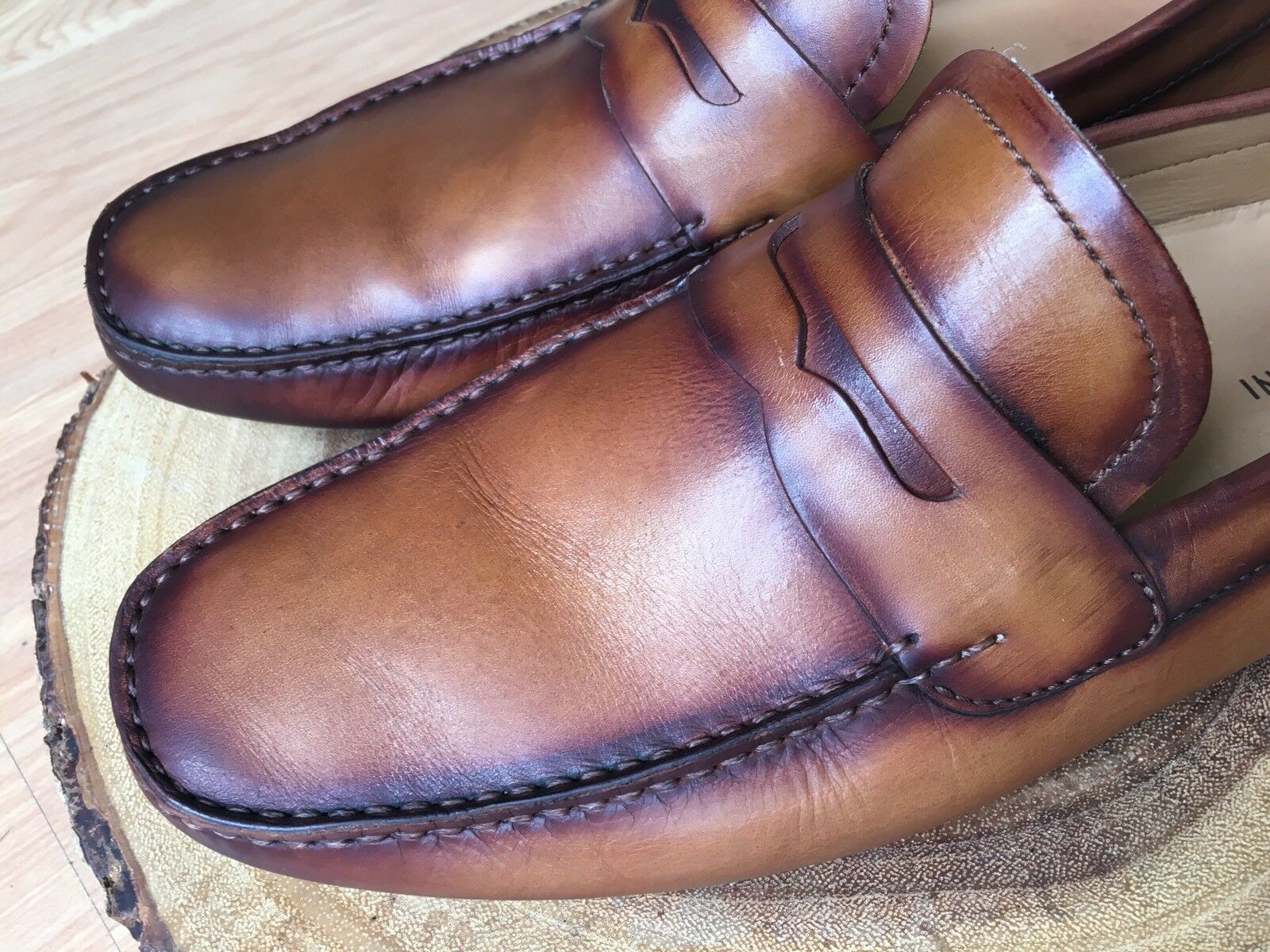 Magnanni Dylan Penny Driving Loafers Brown Cuero Leather Size 10