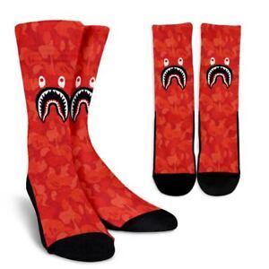 e50bc456f7883 Red Cool Bape Camo Shark Head Unisex Women Men Sock Crew Socks | eBay