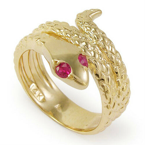 14k Solid Yellow gold Snake Ruby Eye Serpent Ring Sizes 4 to 9.5  R1051