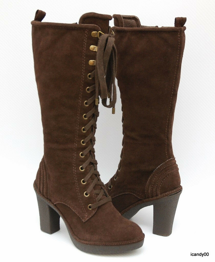 New Juicy Couture *MADLEY* Suede Platform Lace-Up Tall Boot Heel ~Brown *6.5
