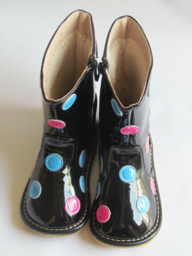 Black with Multi Colored Dots Squeaky Boots Toddler Boots Up to Size 7