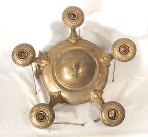 Antique Victorian Art Nouveau 5 Arm Brass Chandelier Ebay