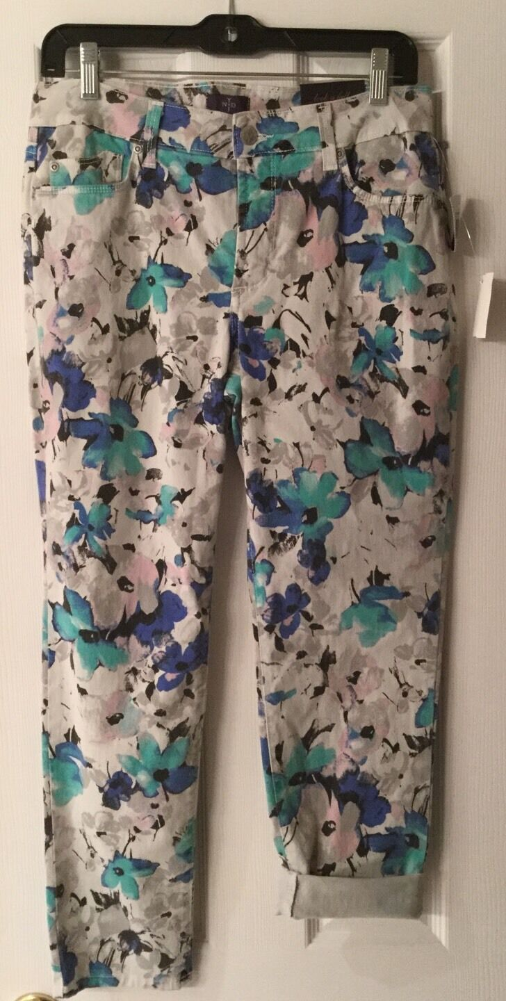 NWT NYDJ bluee Floral Ankle Jeans Size 8 Msrp
